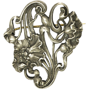 French Art Nouveau Heavy Silver Poppies Pin