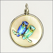 English Enamelled Owls Sterling Silver Mother of Pearl Pendant or charm