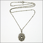 French Antique Silver Paste Pendant with Decorative Chain