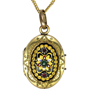 French Victorian Gold Plated Locket with Bressans Enamels with Chain