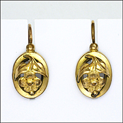 French Victorian Gold Filled Flower Earrings - Lever Backs