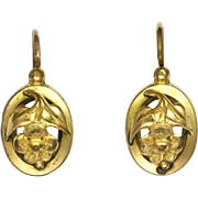 French Victorian Gold Filled Flower Earrings - Lever Backs