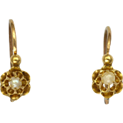 French Antique Gold Filled and Seed Pearl Earrings