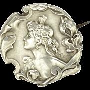 French Art Nouveau Silver Lady Pin - TAIRAC