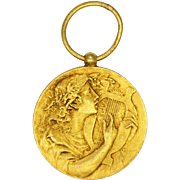 French Antique St Cecelia Gold Plated Medal or Pendant - L COUDRAY