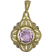 FAHRNER - German Art Deco Silver and Amethyst Pendant