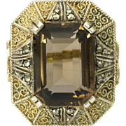 FAHRNER Silver Marcaste and Smoky Quartz Gold Backed Ring- Germany