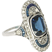 Art Deco Sterling Silver and Pastes Ring
