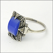 Art Deco 935 Silver with Blue Chalcedony Agate Ring