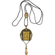 Art Deco Egyptian Revival Silver and Glass Pendant Necklace - NEIGER BROTHERS