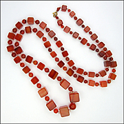 Art Deco Carnelian Agate Cube Necklace