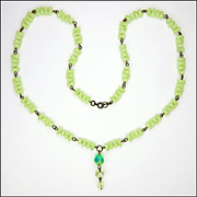 Art Deco Vaseline Uranium Glass Necklace