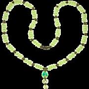 Art Deco Vaseline Uranium Glass Necklace
