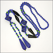 Art Deco Egyptian Revival Glass Drop Necklace - NEIGER BROTHERS