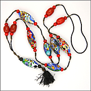 Italian 1920's Mille Fiori Murano Glass Flapper Necklace with Tassel