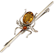 CHARLES HORNER England 1921 Silver Paste Spider Bar Pin