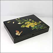 Japanese Art Deco Lacquered Box with Primroses and Butterfly