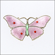 English Art Deco Silver Enamel Butterfly Pin - JA&S