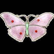 English Art Deco Silver Enamel Butterfly Pin - JA&S