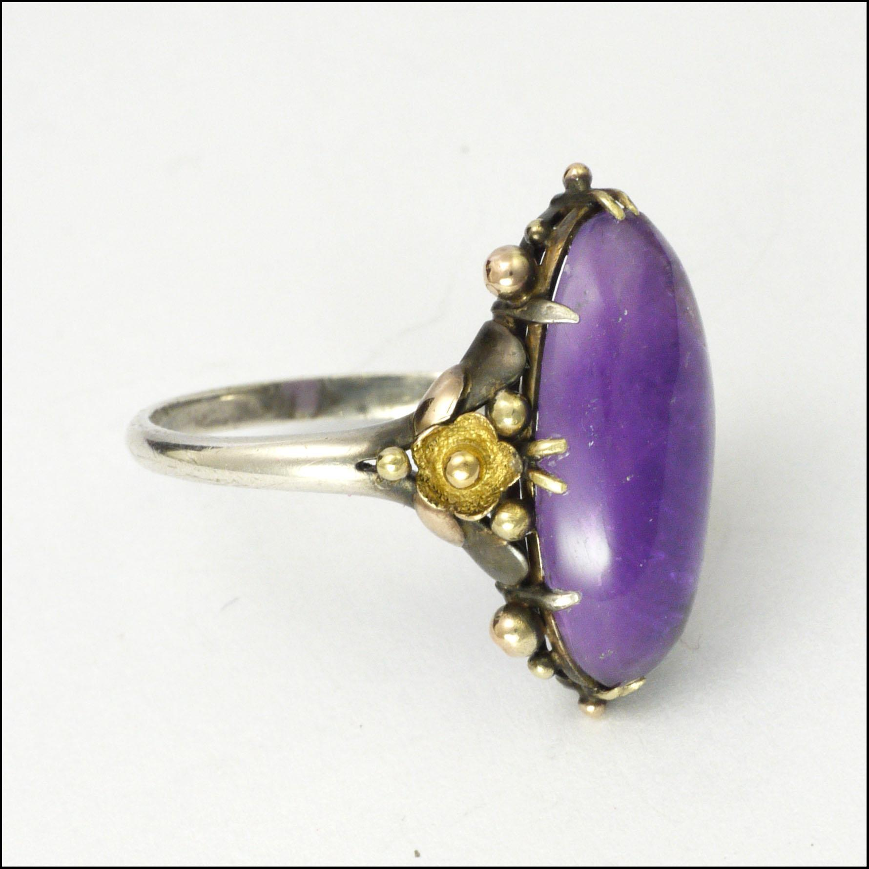 Arts And Crafts Amethyst Sterling Silver And 9k Gold Ring