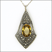 Early Deco Sterling Silver Citrine and Marcasites Pendant Necklace