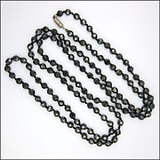 Mid 20th Century Faceted Hematite Long Necklace - 48""