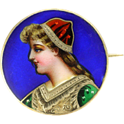 French Antique 800 Silver Enamel Lady Pin