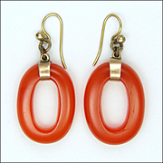 Bakelite Hoops and 9K Gold  Earrings for Pierced Ears