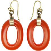 Bakelite Hoops and 9K Gold  Earrings for Pierced Ears