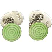 Art Deco Silver Enamel Cufflinks by JA&S  with Plain Silver Backs Hallmarked 1919