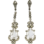 English Sterling  Silver and Rock Crystal with Marcasites Drop Earrings