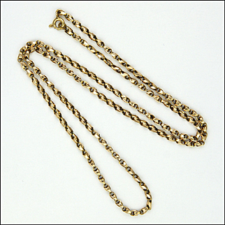 """English Victorian 9K Gold  Faceted Chain - 19"""" - 5.3 grams"""