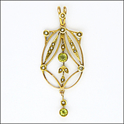 English Edwardian 9K Gold Peridot and Seed Pearl Pendant