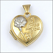 Vintage 9K Gold 'I Love You' Heart Locket Charm