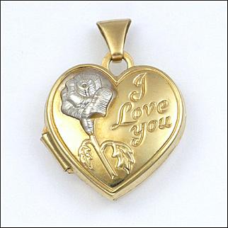 Vintage 9K Gold 'I Love You' Heart Locket Charm