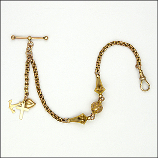 English Victorian 9K Gold Albertina Bracelet with Charms