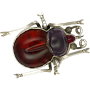 Victorian Silver  Genuine Garnet and Violet Paste Bug Pin