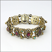 Austro-Hungarian Silver Garnets and Turquoise Bracelet - 6½""