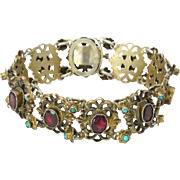 """Austro-Hungarian Silver Garnets and Turquoise Bracelet - 6½"""""""