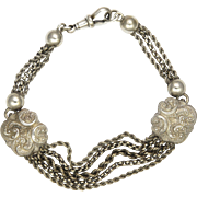 Victorian Sterling Silver Albertina with Engraved Motifs