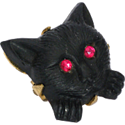 Victorian Jet Black Cat Lace Pin