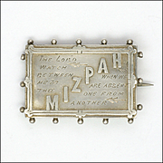 Victorian Silver MIZPAH Pin - Hollis and Newman 1887