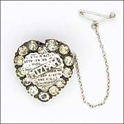 Victorian MIZPAH Silver Pastes Heart Pin
