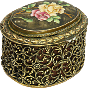 European 19th Century Enamel Rose Gilded Brass Trinket Box