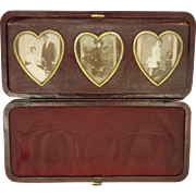 Antique Leather Travelling Heart Shaped Photo Frames
