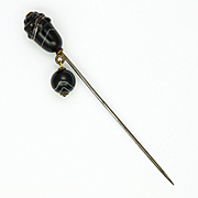 Victorian Scottish Acorn Shaped Banded Agates Hat Pin