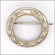 CHARLES HORNER Sterling Silver Leaf Circle Pin