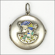 Victorian Egyptian Pharaoh Silver Enamel Locket