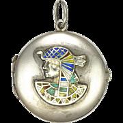 Victorian Egyptian Pharaoh Silver Enamel Locket