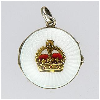 Antique German 935 Silver and Enamel Crown Locket